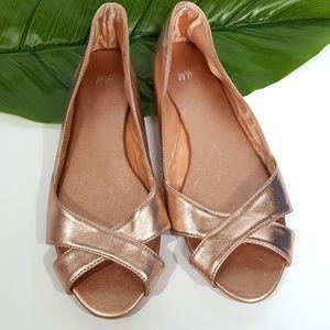 H&M Rose Gold Metallic Peep Toe Flats Size 8